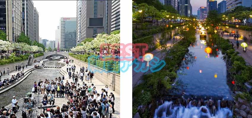 韓国 エスコートアガシ デート オススメのスポットの 清渓川